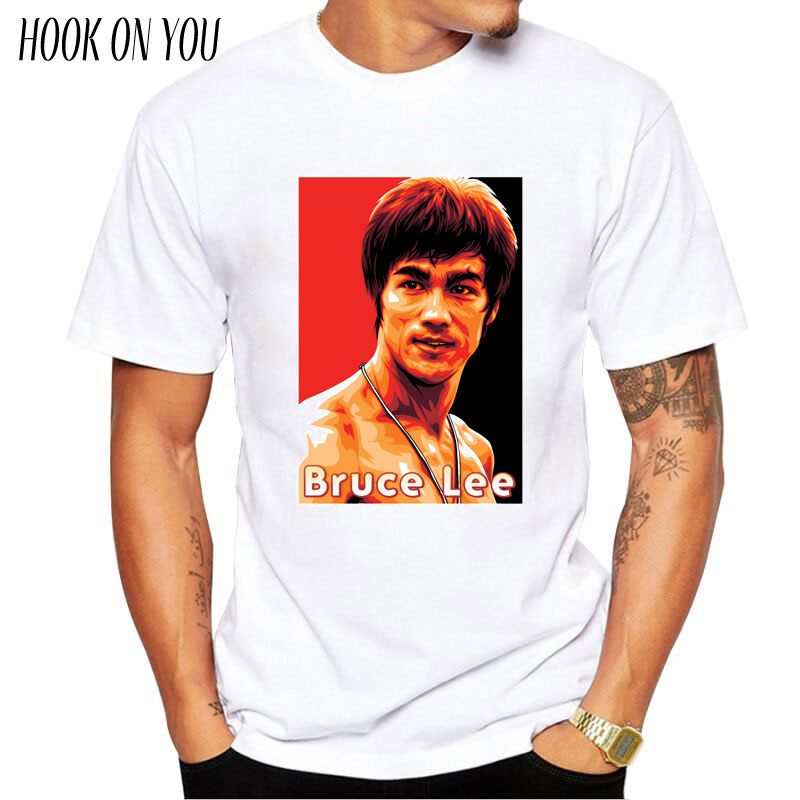 Bruce Lee Men T Shirt Short Sleeve Casual Tops Hipster streetwear Printed Male Fashion Martial Arts