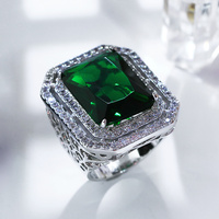 Elegant Dress evening Vogue Classic Square Main stone 3 Attractive Colors Cubic Zirconia Rhodium color Brass Rings for women