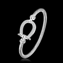 2015 new arrived 925 sterling silver jewelry horseshoe w crystal stone clasp full cuff bracelet bangle for women  fine jewerly