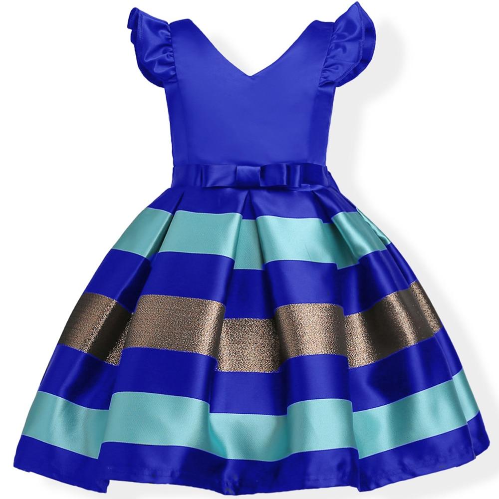 Baby Girls Striped Dress For Girls Formal Wedding Party Dresses Kids Princess Christmas Dress Costume Children Girls Clothing 3