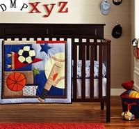 6pcs Embroidery baby bed set set de cuna Baby Bedding Sets kit berço Crib Cot Bassinette (4bumpers+duvet+bed cover)