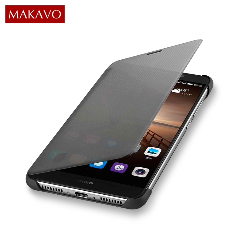 MAKAVO For Huawei Mate 9 Case Flip Cover PU Leather Smart Window View Phone Cases For Huawei Mate9 Holster