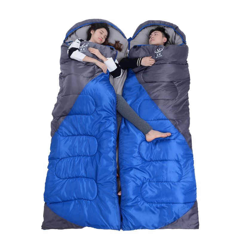 2.2 kgs Waterproof Camping Sleeping Bag Winter Outdoor Splicing Double Sleeping Bags For Lovers Sleep Bag For Women Cold Weather 0
