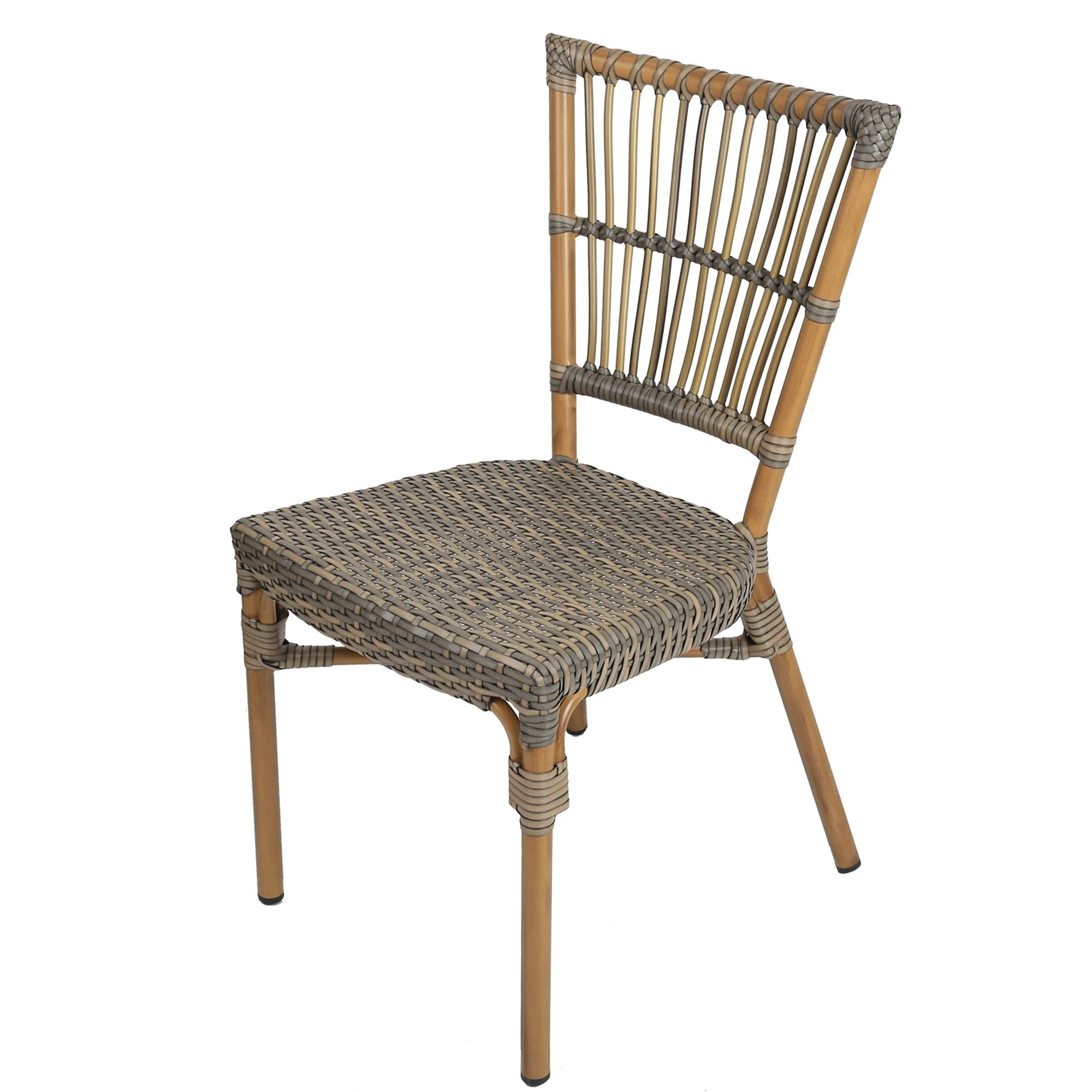 2 Piece Patio Rattan Wicker Chair Indoor Outdoor Use Garden Lawn Backyard Bistro Cafe Stack Chair All Weather Resistant Garden Chairs Aliexpress