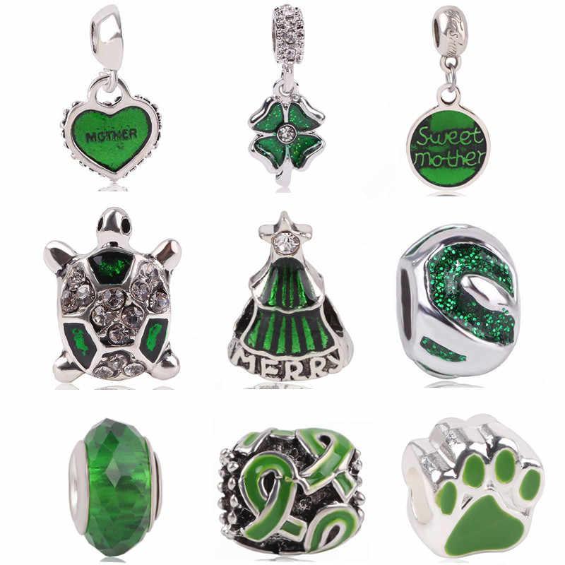 Ranqin מקורי האופנה אירופאית קסם ירוק דשא תלתן נשים Jewerly DIY Fit פנדורה צמידי קסמי צב עץ חג המולד