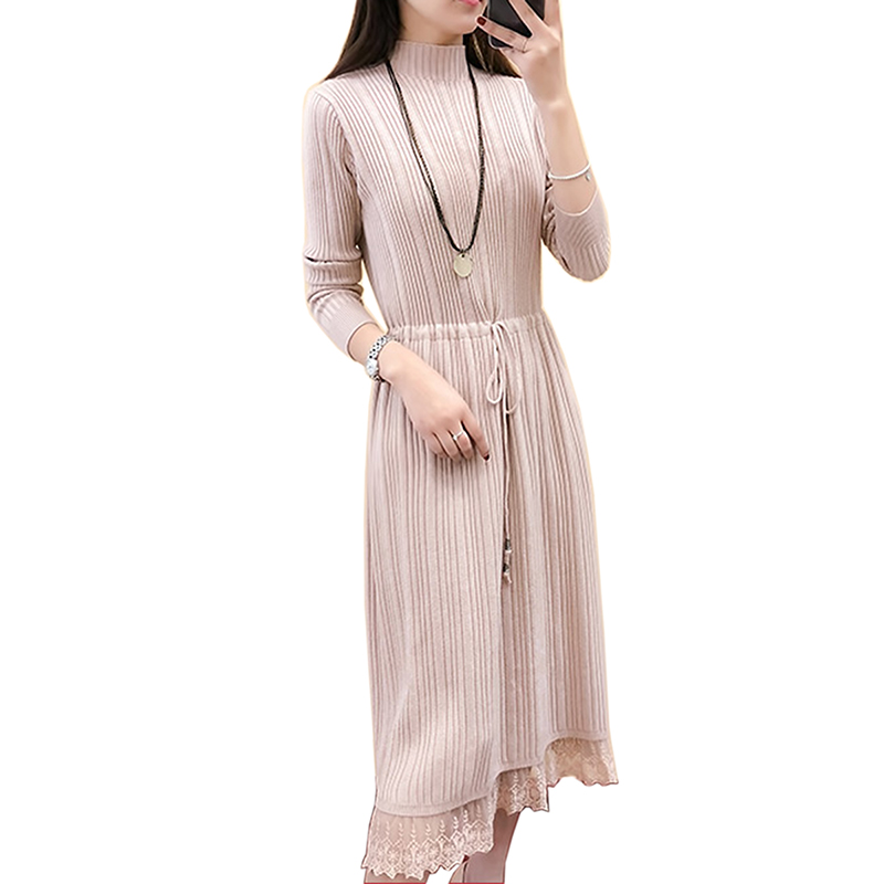 2018 Turtleneck Sweater dress fashion Women Autumn Winter Women Pullovers dresses Female Jumper Pull Femme long Lace Dress