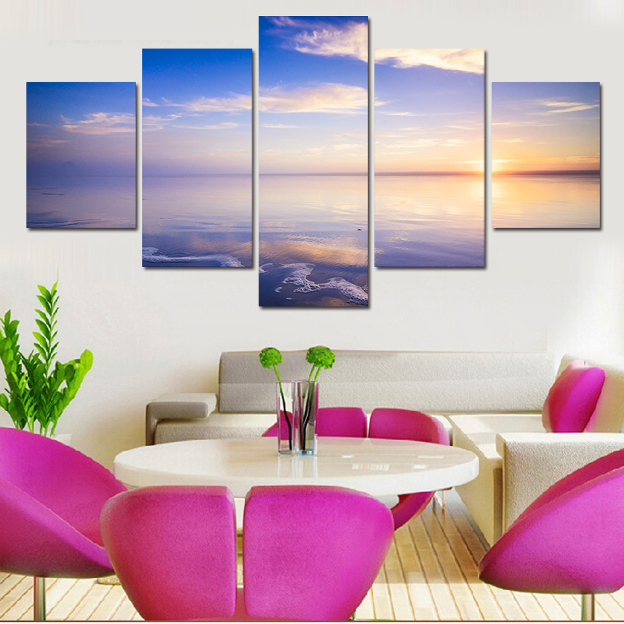 online get cheap nice wall art canvas aliexpress com alibaba group 2016 free shipping 5 panels nice clear blue sky landscape painting canvas wall art home decoration living room modern painting