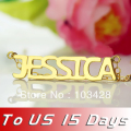 Freeshipping--Jessica Style Gold Plated over  Silver Name Necklace Personalized Nameplate Pendant Name   Jewelry