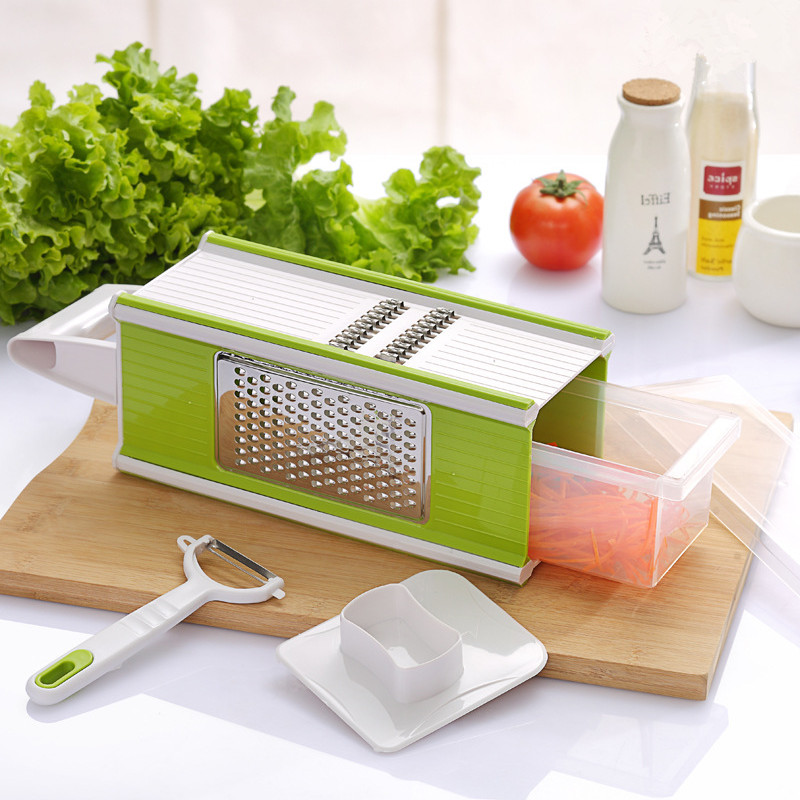 Free Shipping Adjustable Mandoline Slicer with 4 Interchangeable Stainless Steel Blades -Vegetable Cutter Peeler Slicer Grater