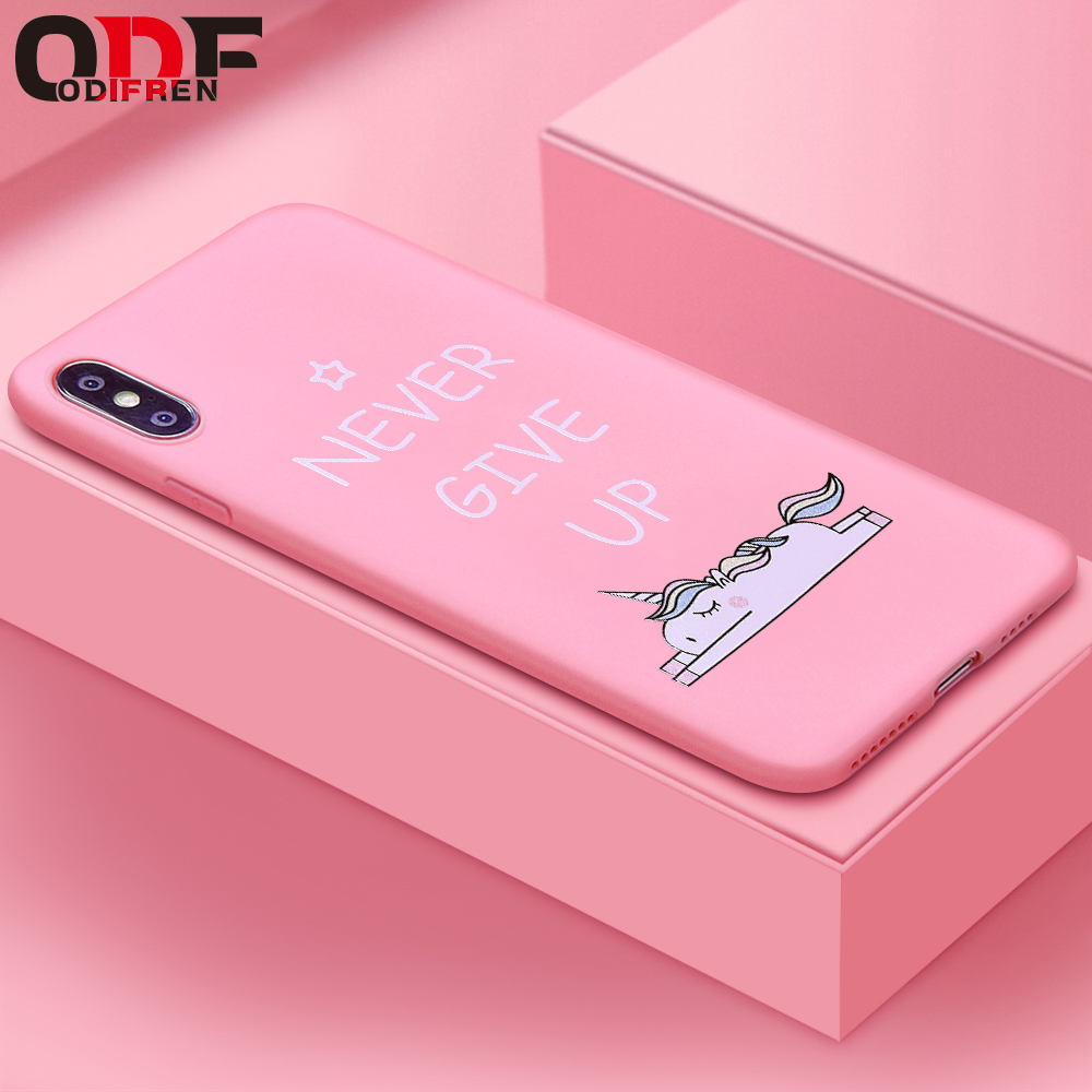 Funda de teléfono de silicona suave rosa de moda con dibujos animados de ODIFREN unicornio Animal para iPhone 6 S 6 S 7 8 para iPhone X XS X MAX Coque