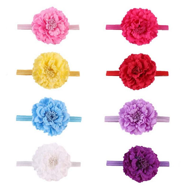 Κορίτσια   ρούχα 8 Colors Kids Peony Flowers Headband Girls Floral Headband  Newborn Hair Bow Weave Headwear Hair Band Accessories 5985abef84a7