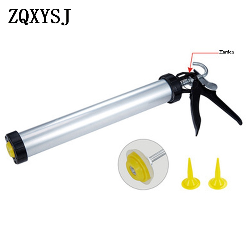 16 Inch Caulking Gun Aluminum Housing Glass Silicone Gun With 2PC Built-in Spigot Adhesive Sealant Metal Structural Glue Guns