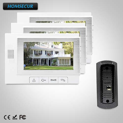 HOMSECUR 7 Video Door Phone Intercom System+Intra-monitor Audio Intercom TC041 + TM702-W ...