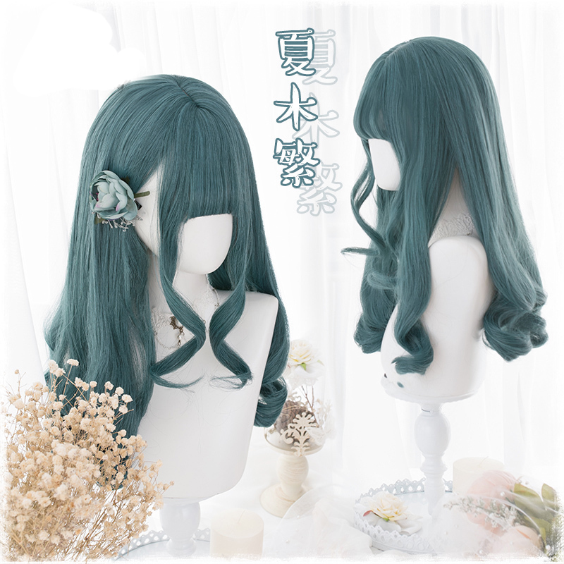 55cm Green Wavy Long Lolita Cosplay Wigs Women's Harajuku Dail Synthetic Hair Party Halloween Wigs + Wig Cap