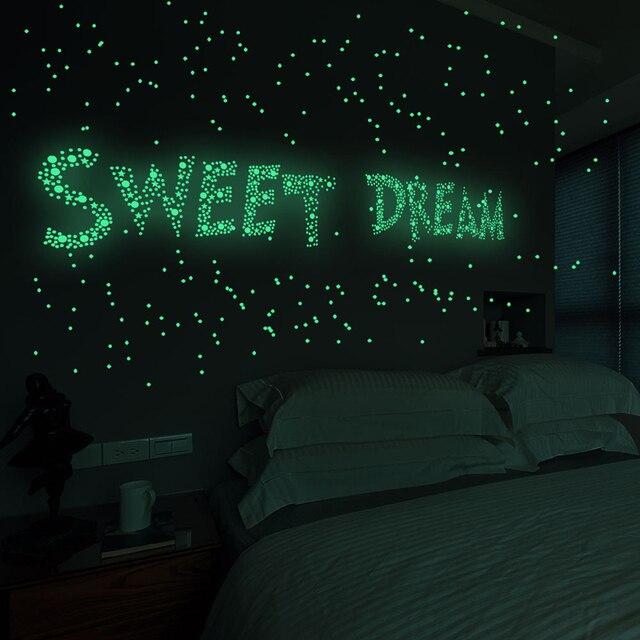 Tofok 3D Bubble 202 unids/set estrellas Dots pegatina luminosa para pared DIY dormitorio Calcomanía para habitación de niños que brilla en la oscuridad fluorescente decoración del hogar