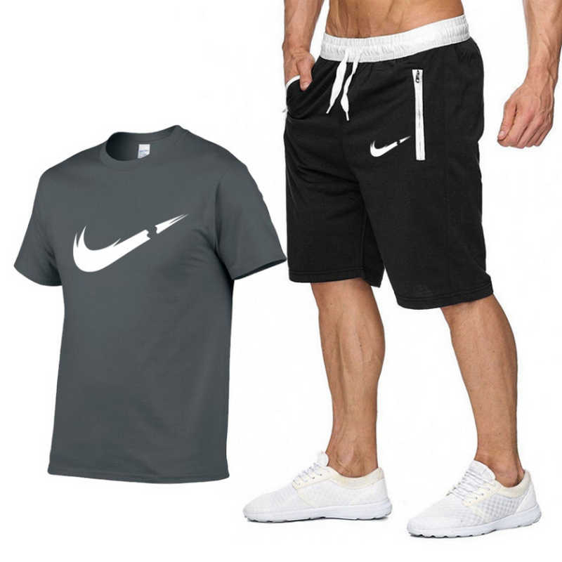 Summer Hot Sale Men's Sets   T     Shirts  +Shorts Two Pieces Sets Casual Tracksuit Male 2019 Casual Tshirt Gyms Fitness trousers men