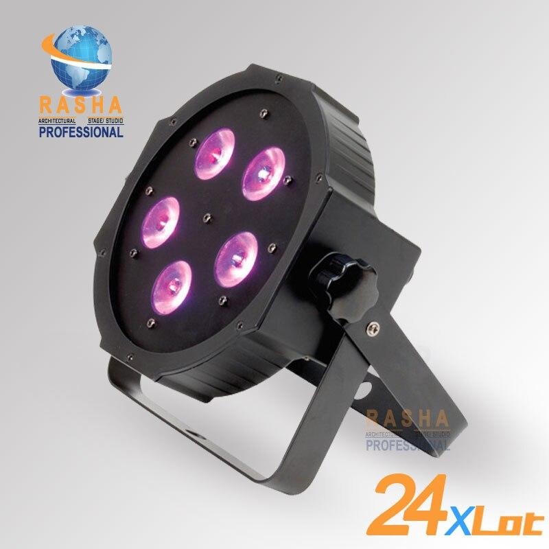 24X LOT New Arrival ADJ 5*18W 6in1 RGBAW+UV Mega Quadpar Profile LED Par Light , DMX Par Can,American DJ Light For Event Party