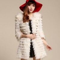 Горизонтальная полоса дизайн длинные женские из меха енота пальто 100% натуральная средней длины из натурального меха енота куртка зимняя ве