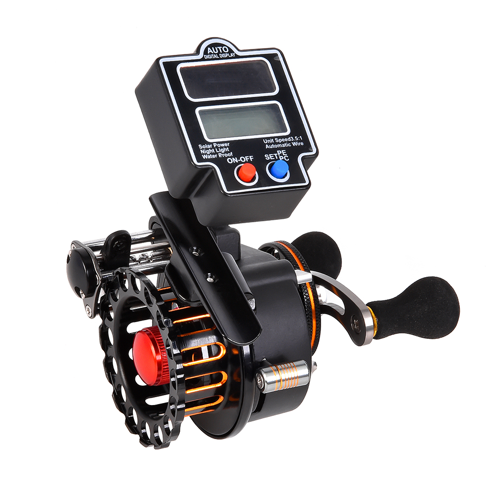 Right / Left Hand Raft Fishing Reel with Solar Power Digital Line Counter Carp Fishing Tackle 4+1 Ball Bearings 3.5:1 Gear RatioRight / Left Hand Raft Fishing Reel with Solar Power Digital Line Counter Carp Fishing Tackle 4+1 Ball Bearings 3.5:1 Gear Ratio