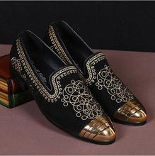 Casual Gold Embroidery Flat Shoes Men Loafers Gold Round Toe Sapato Masculino 2017 High Quality Black Genuine Leather Mens Shoes