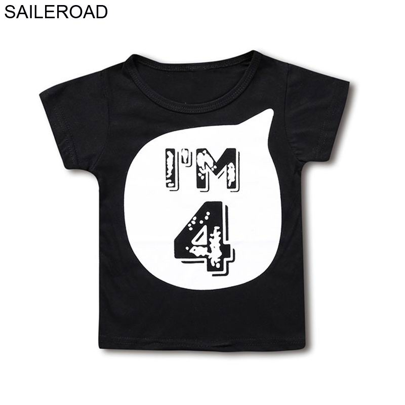 SAILEROAD I AM 1 2 3 4 5 6 Letter Children's t-shirts for Girls Boys Short Sleeve Shirts Summer Kids Tops Tees Clothing 1