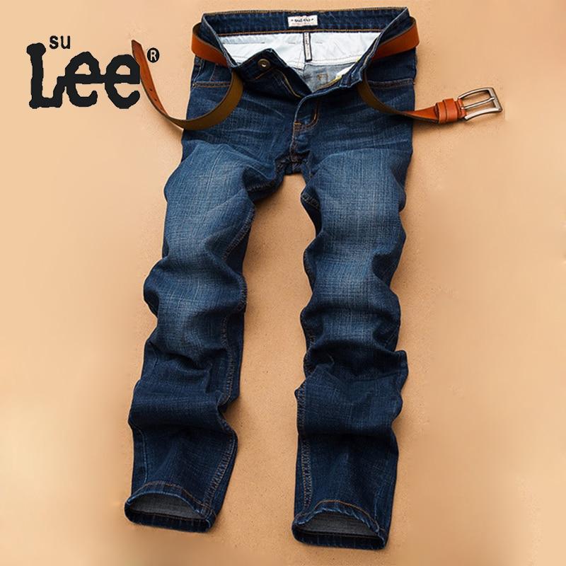SULEE Autumn And Winter New Men's Thick Mid Waist Blue Jeans Mens Slim Straight Denim Pants Men Quality Plus Size Trousers 2068
