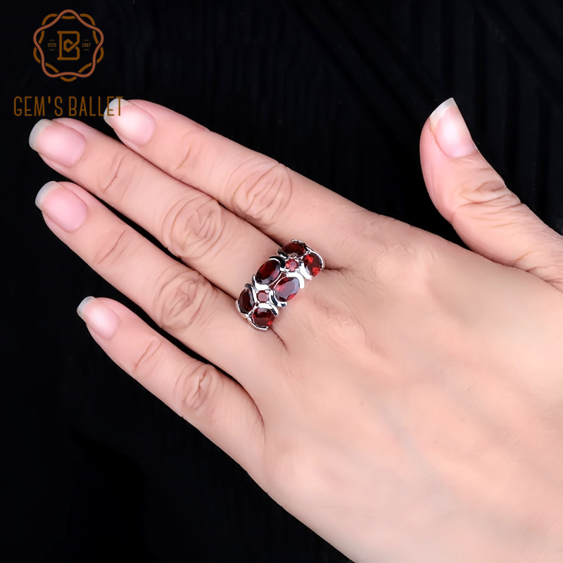 Gem's Ballet Unique Design 6.13Ct Natural Garnet Gemstone Ring 925 Sterling Silver Mona Lisa Ring For Women Wedding Bijouterie