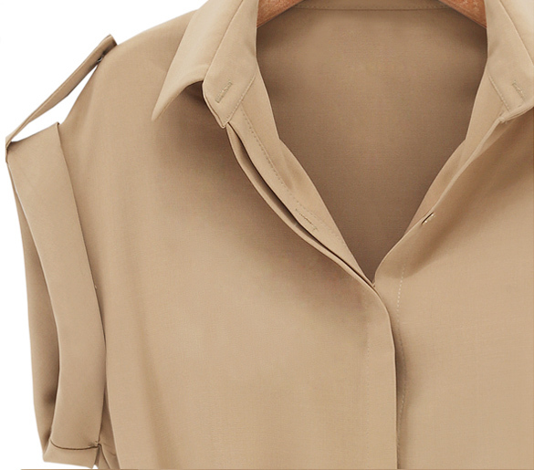 2017 Women Long V-neck Shirt Chiffon Loose Blusas Dress Summer Casual Short Sleeved Office Mini Dress With Belt Vestidos