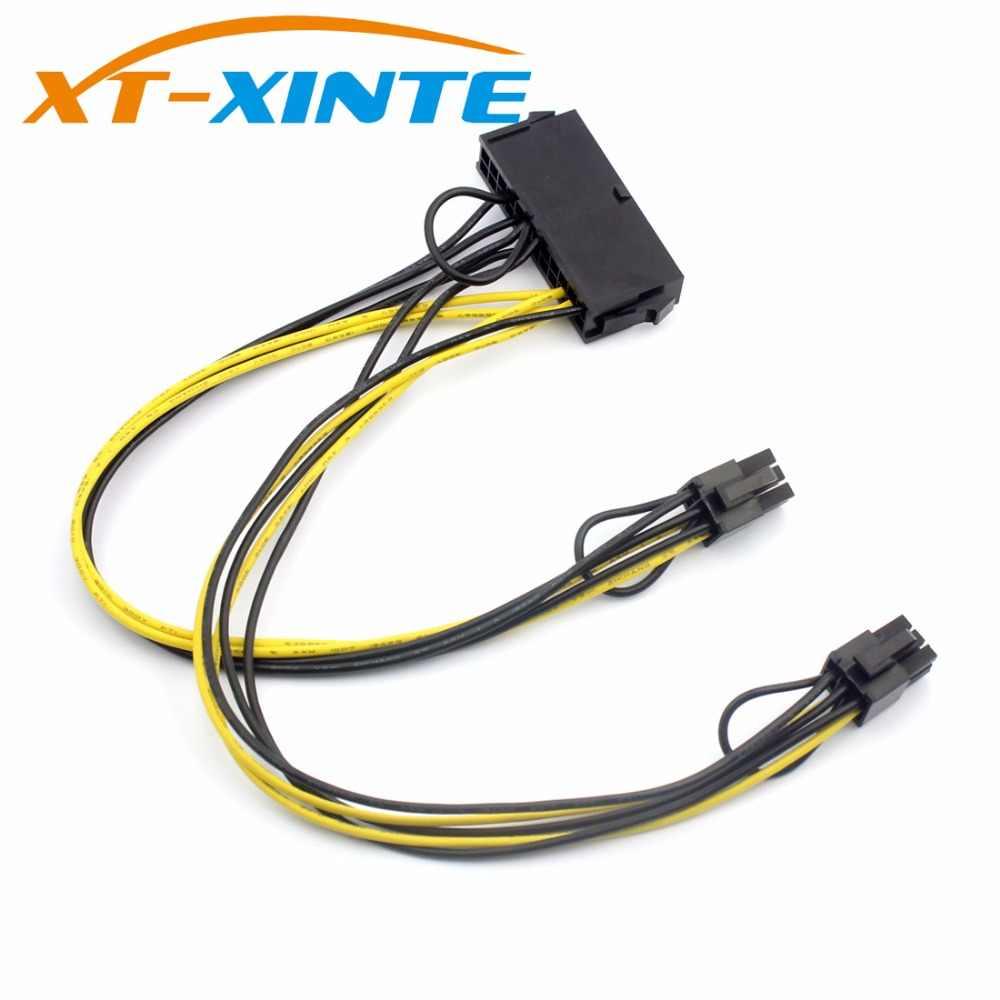 "ATX 24Pin כדי הכפול 6 פינים PCI-E כרטיס מסך כבל חשמל עם אתחול PCI-Express גרפיקה מתאם כבל חוט 18AWG 30 ס""מ"