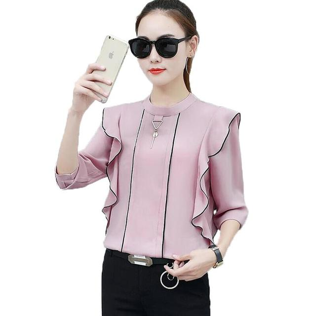 bc20b436262 Blusas de mujeres 2019 nueva moda Blusa de gasa camisa de manga larga con  volantes o