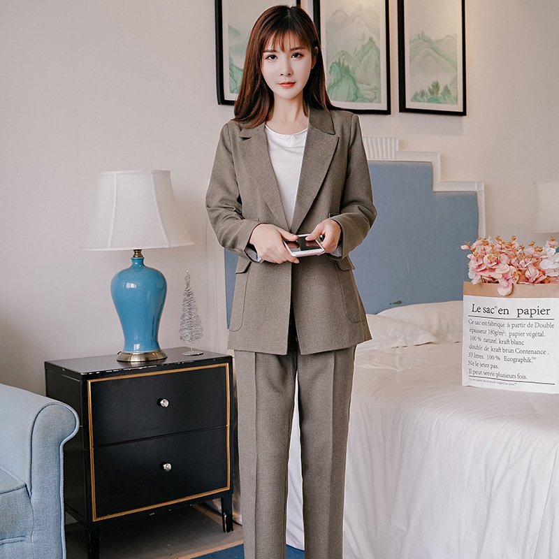 Women Suits Office Sets High Quality Double Pocket Long-sleeved Suit Jacket Casual Pants And Suit 2019 Winter New Style