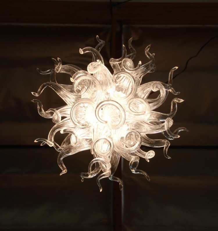 Store Decor Crystal Glass Chain Lamp LED Bulbs Style Blown Glass Chandeliers in Chandeliers from Lights Lighting