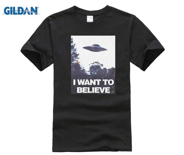 d7981280416 HOT deals 2017 Summer fashion streetwear short sleeve Tees X-Files I Want  To Believe Aliens UFO T Shirt Fashion Men T Shirt
