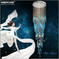Modern Blue Ceiling Lights Fixtures Glass Crystal Home Lighting 118 Inch Long Crystal Ceiling Mount Light