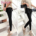 Autumn wear high waisted Leggings lady pleated false two Korean skinny trousers skirt pants tide leggings women girls