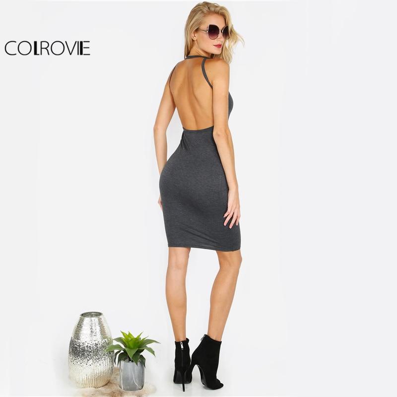 COLROVIE Sexy Open Back Bodycon Club Dress 2017 Basic Strap Women Sleeveless Slip Summer Dresses Solid Elegant Midi Party Dress
