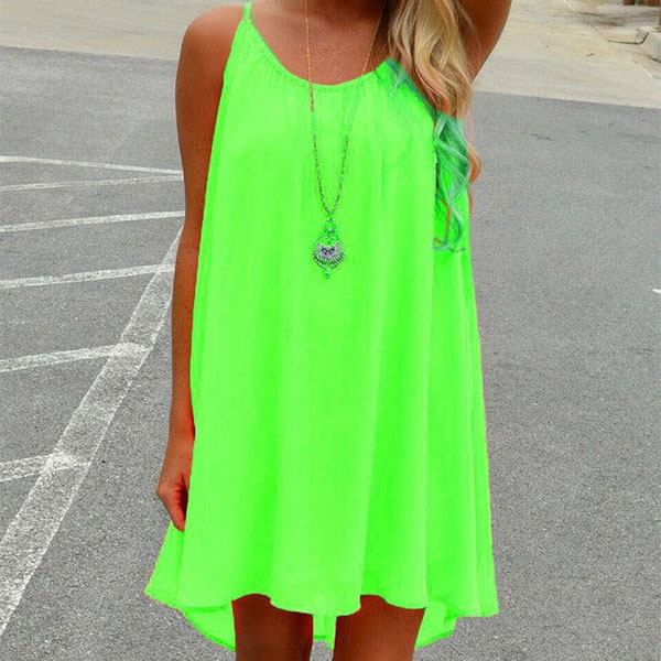3a0161fcfd6e Women beach dress fluorescence female summer dress chiffon voile women  dress 2018 summer style women clothing plus size
