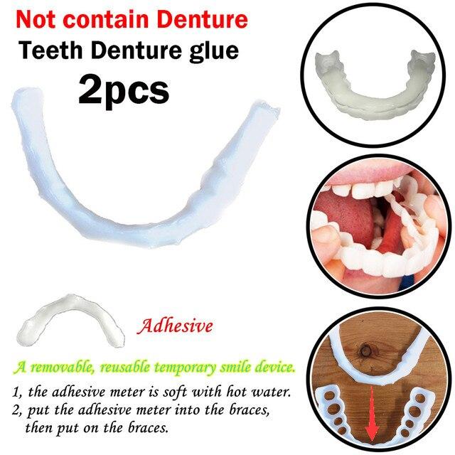 2 pc en sonrisa adhesivo temporal sonrisa ajuste de la comodidad de los dientes de la dentadura postiza pegamento Maquillaje dental protese dental # y4