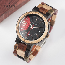 BOBO BIRD reloj de madera para hombre, con fecha automática, de cuarzo, masculino