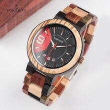 בובו ציפור חדש שעונים Mens עץ שעון תאריך אוטומטי יוקרה קוורץ שעוני יד relogio masculino זרוק חינם