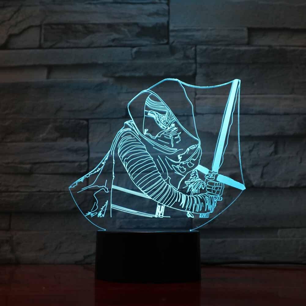 Творческий 3D светодиодный Ночные огни сна освещения световой меч воины Luminarias USB прикроватные Звездные войны настольная лампа для детей под...