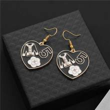 Fashion Luxury Crystal Camellia Earrings Brand Design Clothes 5 Letter  Simulated Pearl Stud Earring Jewelry Women