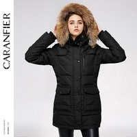 CARANFIER Waterproof Coats Women Long Parka Removable Raccoon Fur Hooded Winter Thick Long Type Pockets Desgin