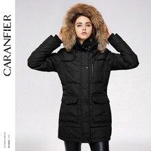 CARANFIER Waterproof Coats Women Long Parka Removable Raccoon Fur Hooded Winter Thick long type Pockets Desgin Jacket