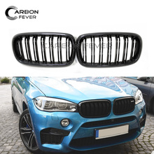 Pair Gloss Black Double Slat Line Car Racing Grills Carbon Fiber For BMW X5 X6 Series F15 F16 2014-2018 Quality Grill Grilles
