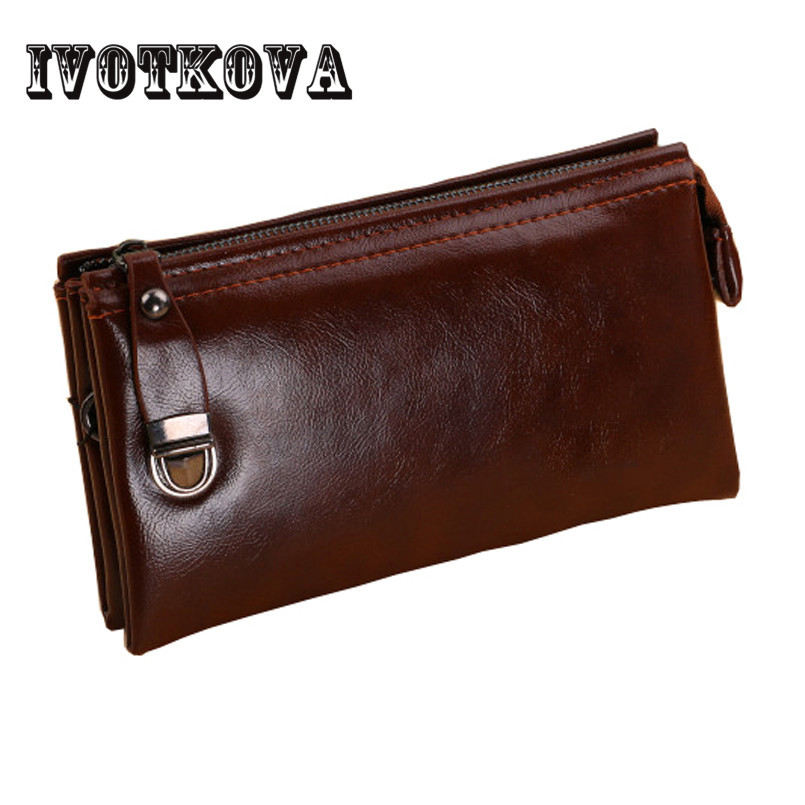 IVOTKOVA Casual Men Clutch Wallets Fashion Designer Male Long Wallet Brand High Quality Money Purse Card Holder and Phone Bag hot sale leather men s wallets famous brand casual short purses male small wallets cash card holder high quality money bags 2017