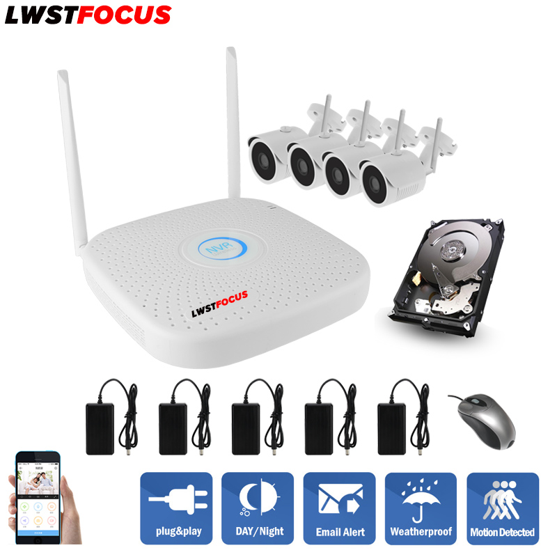 LWSTFOCUS Plug and Play 4CH Wireless NVR Kit P2P 720P HD Outdoor IR Night Vision Security IP Camera WIFI CCTV System  anran plug and play 4ch security camera system wireless nvr kit p2p 720p hd outdoor ir night vision cctv ip camera system