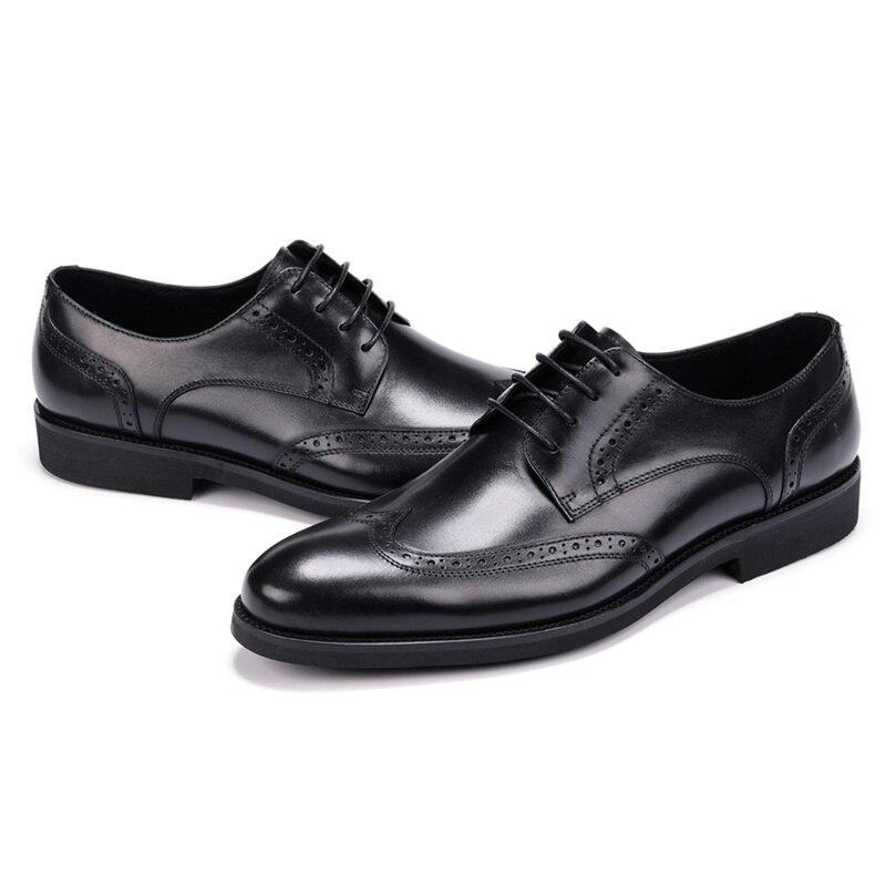 Pie Calzado A Mano Los Redonda Oxfords Hombre Brogue Hombres Del De Otoño Zapatos Fiesta Genuino Tinto Boda Vestido Dedo Tallado Negro Hecho Primavera Formal Cuero vino Js126 IxaBwt