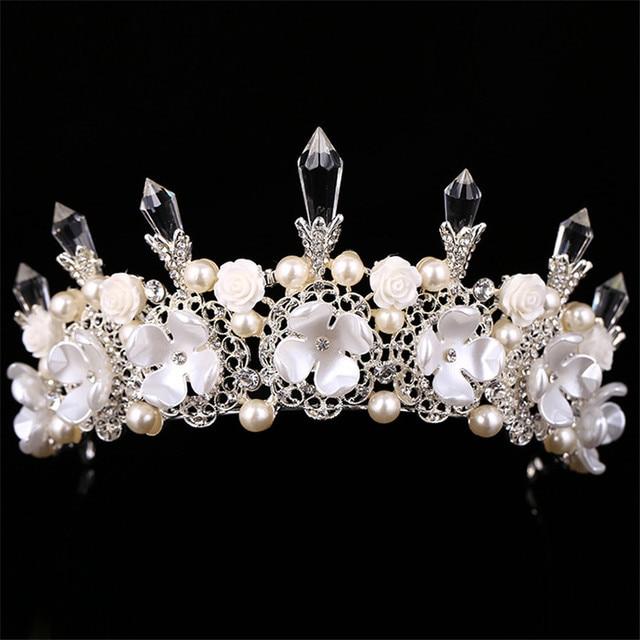 2016 Люкс Тиара Кристалл столб белый цветок большой Корона со стразами и жемчугом Свадебные Украшения для волос головной убор платье Интимные аксессуары Подарки