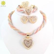 Women Dubai Fashion Vintage Luxury Crystal Love Heart Necklace Earrings Rhinestone Wedding Bridal African Costume Jewelry Sets